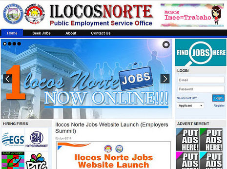 A screenshot of Ilocos Norte's Job Portal